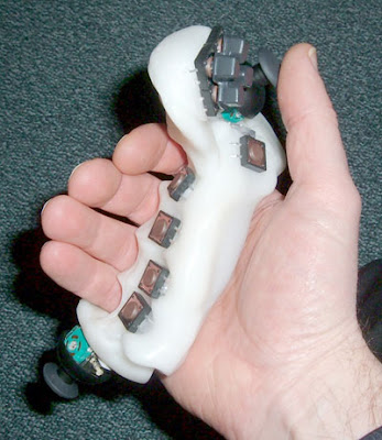 Image of a prototype one-handed video game controller. (c) LEPMIS and Geoff Harbach.