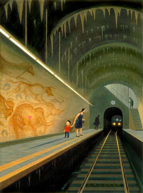 Image of a Mother and child waiting for a train to perhaps take them away from a very strange almost prehistoric train station.