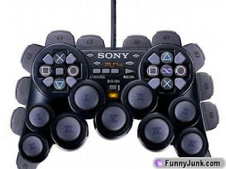 Image of a mocked-up Playstation 4 controller - with an absurd number of buttons and joypads.