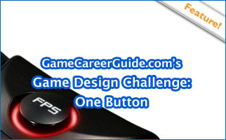 GameCareerGuide's Game Design Challenge: One Button - Image of a game button marked with the letters F.P.S. - for First Person Shooter.