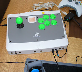 Image of an adapted SEGA Dreamcast Arcade Stick - Adapted for accessibility switch use.