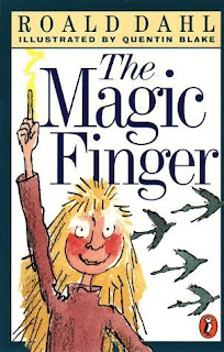 Image of the front cover of Roald Dahl's The Magic Finger - a drawing of a girl holding her magic finger aloft.