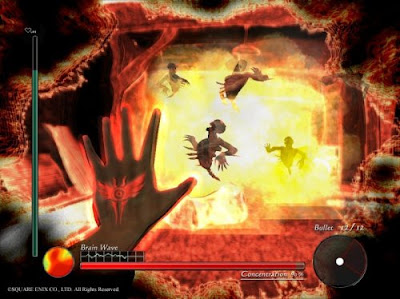 Image of a hellish video gaming scene with a player taking control over evil looking spirits.