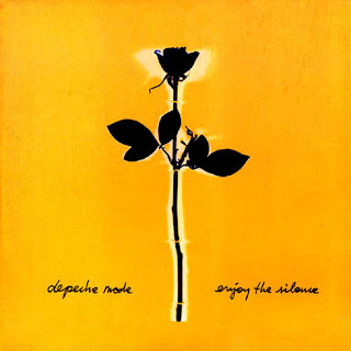 Image of Enjoy the Silence 12inch record cover. Black rose on yellow background.