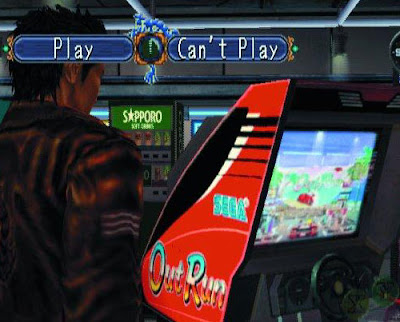 Screenshot from Shenmue. Ryo Hazuki being offered option to PLAY or CAN'T PLAY an emulated game of OutRun.