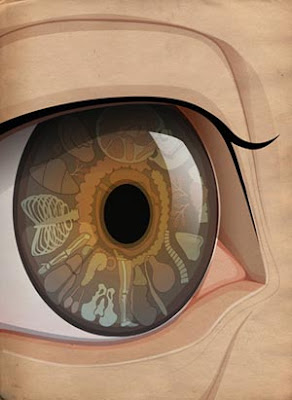 Artistic impression of an eye and iridology.