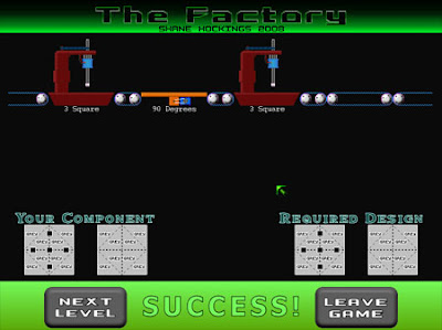 Image of puzzle game 'The Factory'. A conveyor belt with a number of machining tools.