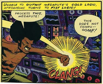 Image of a martial-arts super-hero called Afrodisiac punching an obstinate super-computer called Megapute.