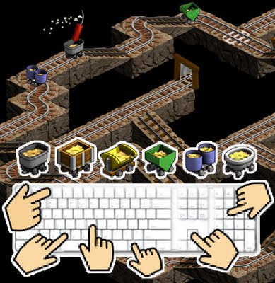 Image of Mystic Mine for one to six one-switch players. A 3D train track optical illusion.