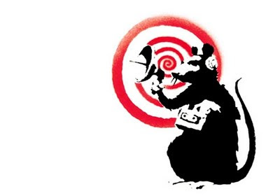 Image of a rat holding a radar listening device in front of a red spiral. Intended to represent previously anti-accessibility game developers starting to prick up their ears. No offence re. the rat - just liked the Banksy picture.