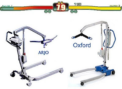 Image of an Arjo mobile hoist squaring up to an Oxford mobile hoist in a mock-up Street Fighter video game style battle.