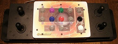 Full overhead image of the Quasicon Axis-3 accessible arcade stick with analogue controls.