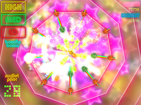 Fish Fish Bang Bang. Hugely colourful game screen shot, baddie fish homing in an Octagonal pattern towards the goodie gold fish in the middle.