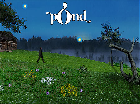 Image of a countryside scene, with a man strolling down a lush green hill, with two glowing orbs hanging in the sky. Text reads, 'Pond'.
