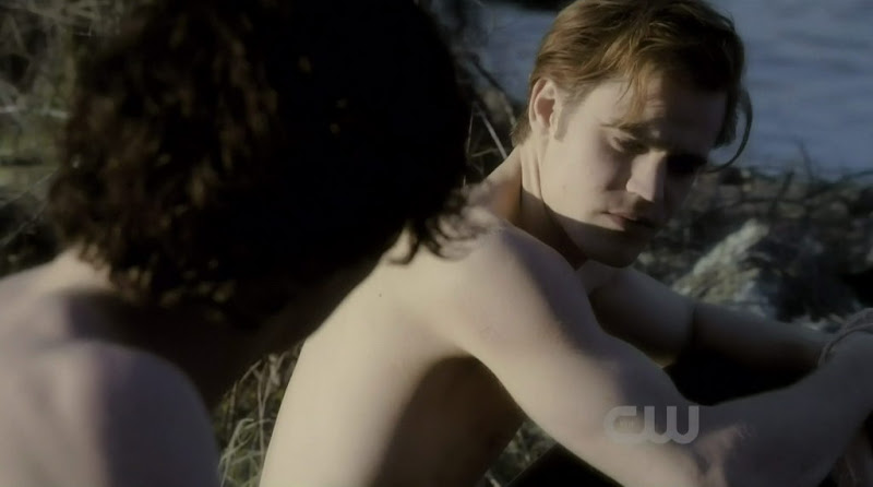 Ian Somerhalder and Paul Wesley Shirtless on Vampire Diaries s1e20