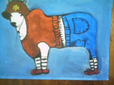 Vaca guache sobre papel
