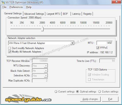Speed Up your Internet Connection to Maximum using TCP Optimizer