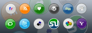 glossy rounded social bookmarking icons