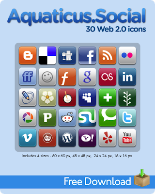 Aquaticus Social by jwloh 75 Beautiful Free Social Bookmarking Icon Sets