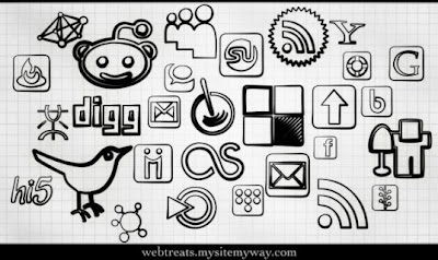 Black Magic Marker Social Bookmarking Icons