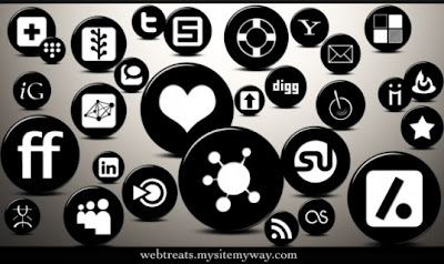 high resolution 3D glossy black button Social Media/Social Bookmarking/Social Networking Icons