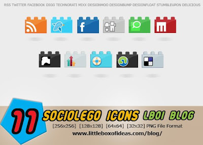 SocioLEGO - Social Bookmarking Icon Set
