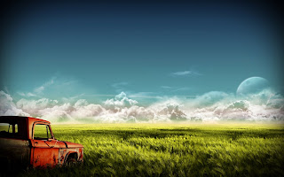 Old Truck Field Nature Wallpaper