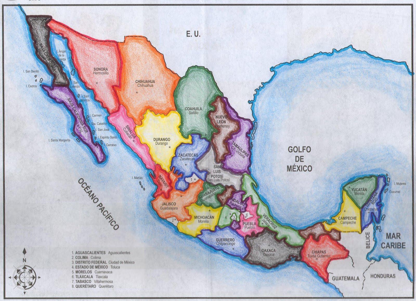 Mapa De México Geografía Y TIC Pinterest Mapa De Mexico - Mapa de mexico
