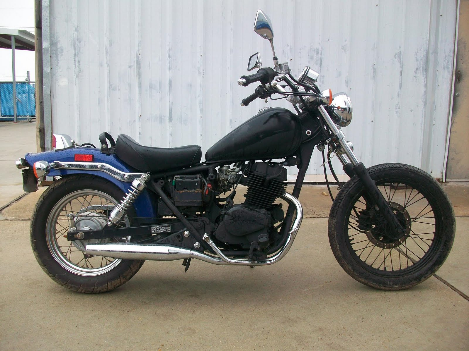 Tail End Customs 2001 Honda Rebel Cmx250 Bobber White Pretty Funky Huh Well The Colors It Had On When I Picked Up Got Me Thinkin Man This Thing Looks Beatup All Black And Blue