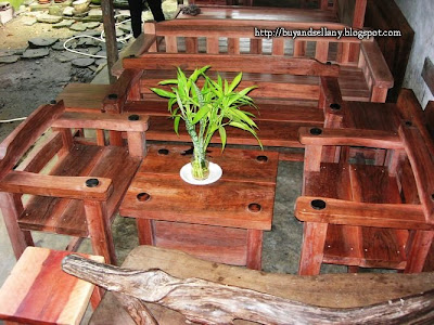 sleek and chic hard wood sala set accented with dotted corners