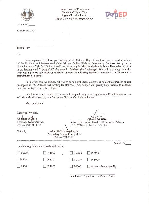 example of a solicited letter of application