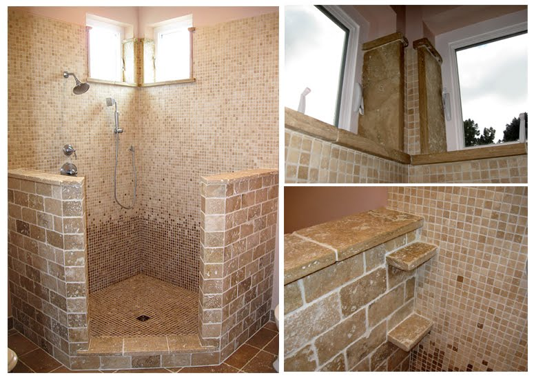 Bathroom designs with travertine tiles home decorating for Open shower bathroom