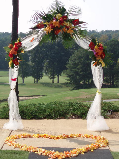 Wedding arch is placed at the head of the wedding party and is where the