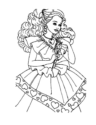 I think Barbie looks really gorgeous on this coloring page.