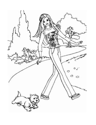 Barbie Coloring Sheets on Barbie Coloring Pages  Barbie And Puppy Coloring Pages
