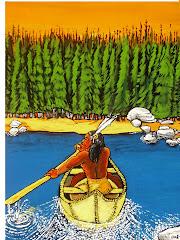 Algonquin s'apprêtant à accoster sur une plage de la rivière Métabéroutin