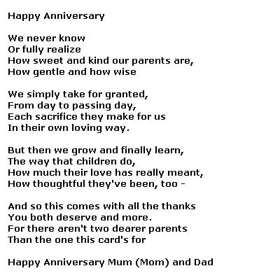 Poems for Parents Anniversary