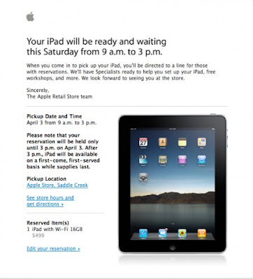 Apple iPad Reservation Reminders