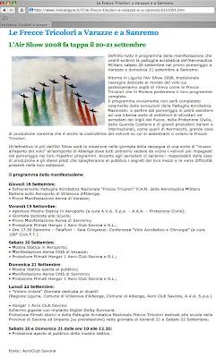 Programma dell'Air Show 2008 a Sanremo e Varazze dal 18 al 22 Settembre