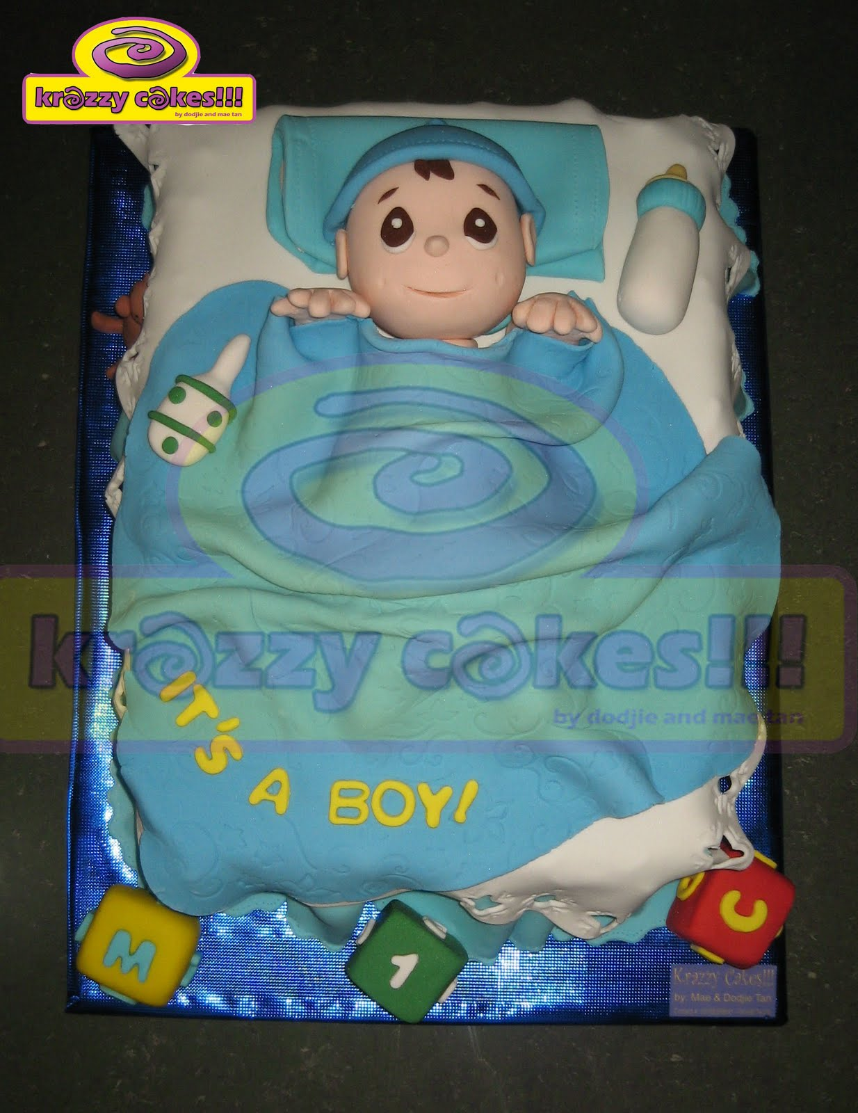 Images Of Newborn Baby Boy Cake : Krazzy Cakes!!!: Baby boy Cake