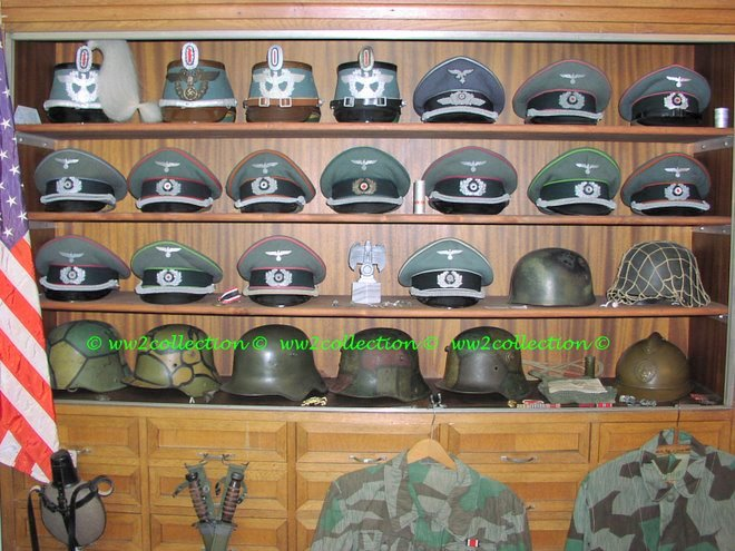 WW1 German Camouflaged Helmets and WW2 German Head Gear
