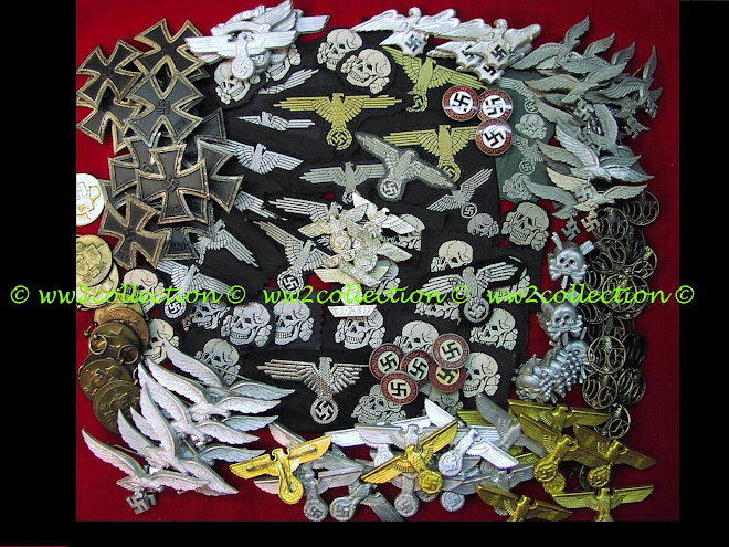 Authentic WW2 SS Sleeve Eagles, SS Cap Eagles and Cloth SS Skull Bevo