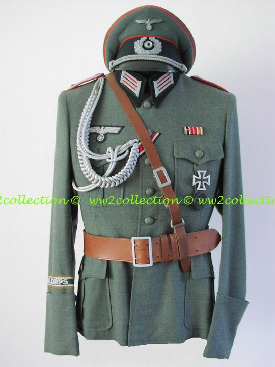 Tunic Officer German Army WW2 with Afrikakorps cufftitle  and Officers Visored Cap Schirmmütze