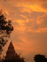 Colorful sky at Sangameshwar temple near Tulapur in Pune