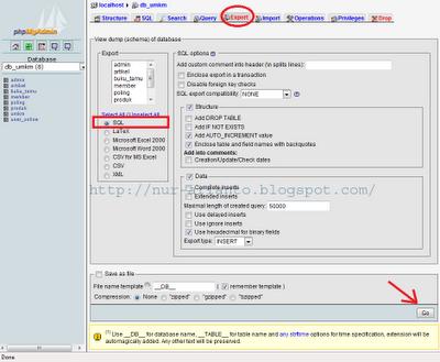 export database MySQL