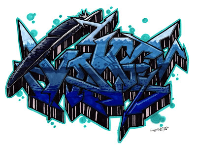 3d Graffiti Letters Sketch blue