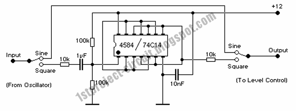 project circuit design  square wave generator using cmos 74c14 single integrated circuit chip