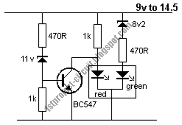 project circuit design  single transistor lead acid battery monitor circuit