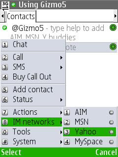 gizmo im voip sip chat sms call
