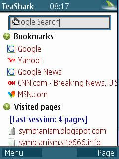 TeaShark Symbian web browser